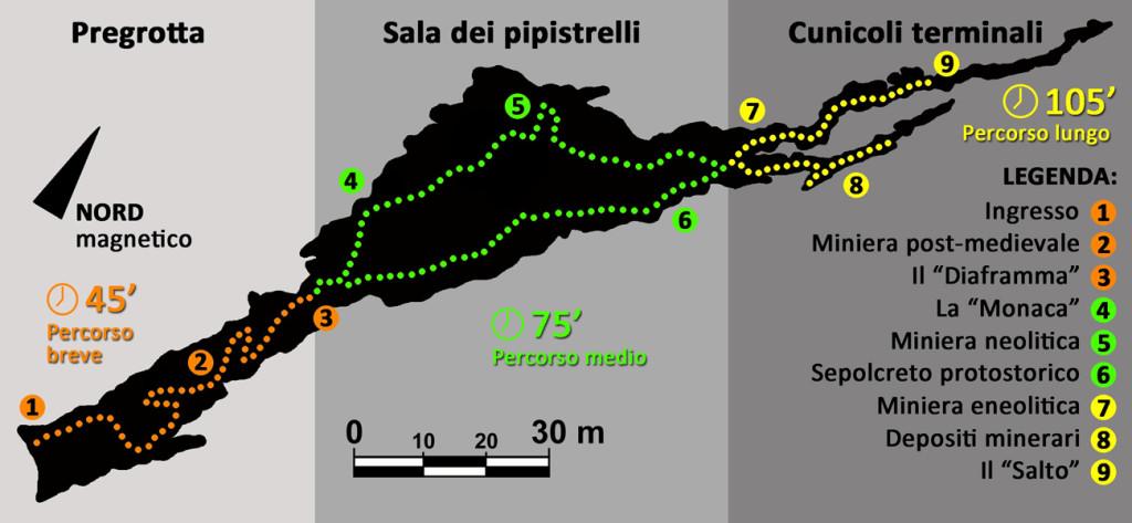 Planimetria schematica di Grotta della Monaca con indicazione dei percorsi visitabili e dei settori ipogei d'interesse.